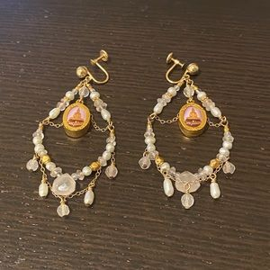 Thai Amulet Buddha Beaded and Gem Earrings